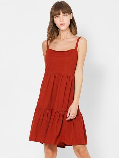 Brown Sleeveless Shift Dress