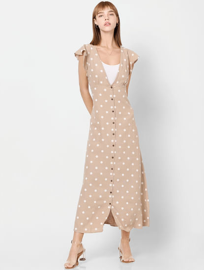 Beige Polka Dot Print Maxi Dress