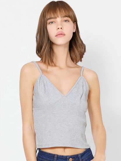 Grey Sleeveless Ribbed Crop Top