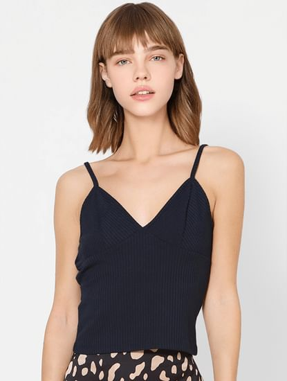 Dark Blue Sleeveless Ribbed Top