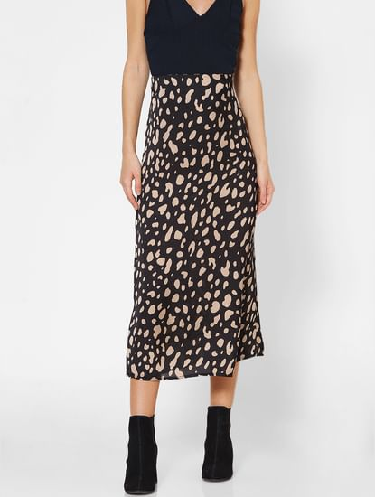 Black Animal Print Long Skirt