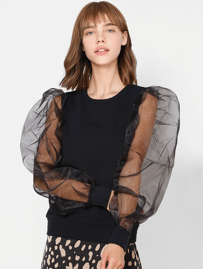 Black Organza Puff Sleeves Top