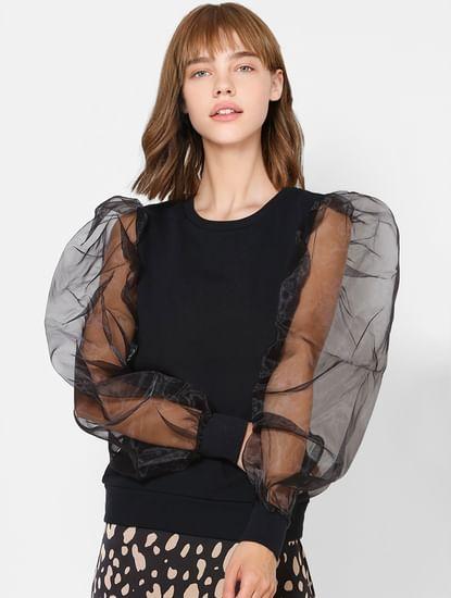Black Organza Puff Sleeves Top