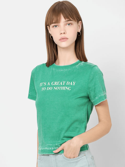 Green Text Print T-shirt