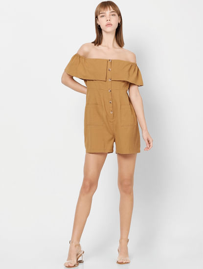 Brown Button Down Off Shoulder Playsuit