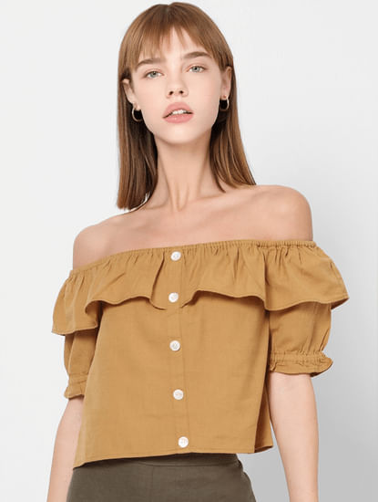 Brown Off Shoulder Top