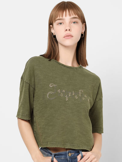 Green Embellished Cropped T-shirt
