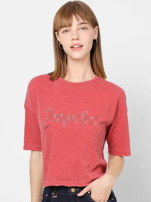 Pink Embellished Cropped T-shirt