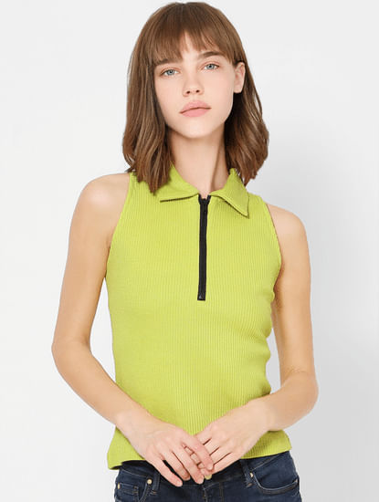 Green Zip Detail Sleeveless Crop Top
