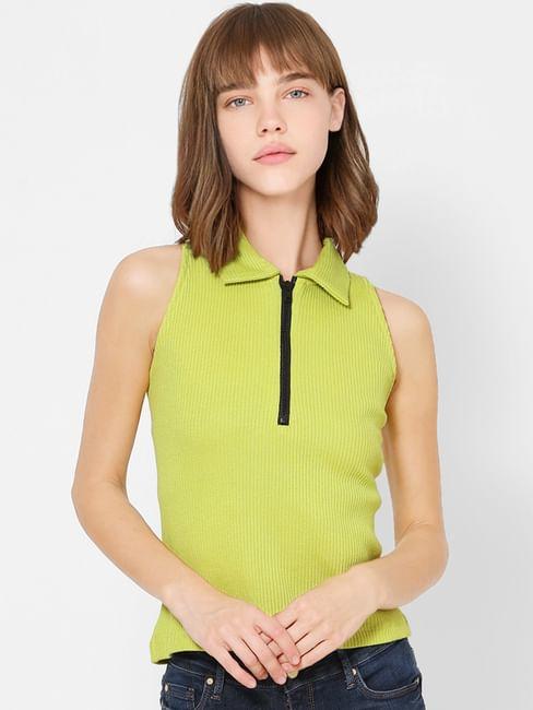Green Zip Detail Sleeveless Crop Top