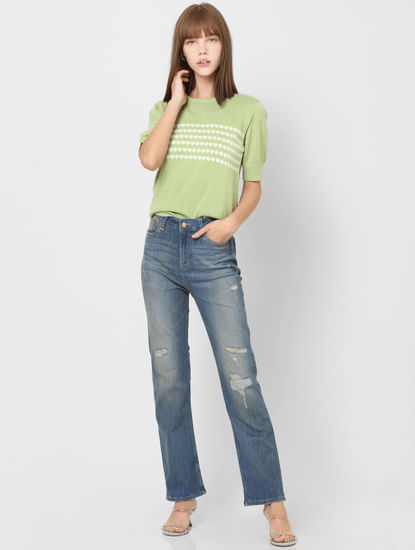 Light Blue Mid Rise Straight Fit Distressed Jeans