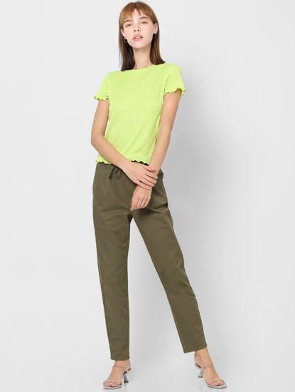 Light Green Ribbed Crop Top