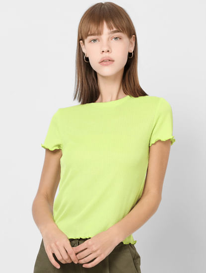 Light Green Ribbed Crop Top