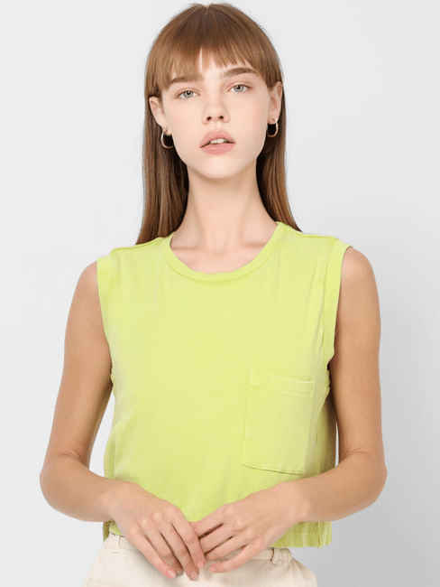 Green Sleeveless Ribbed Top