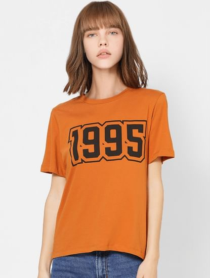 Brown Number Print T-shirt