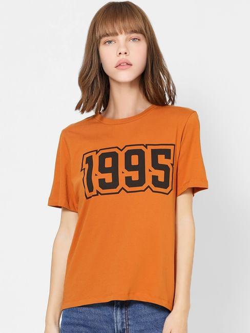 Brown Number Print T-shirt