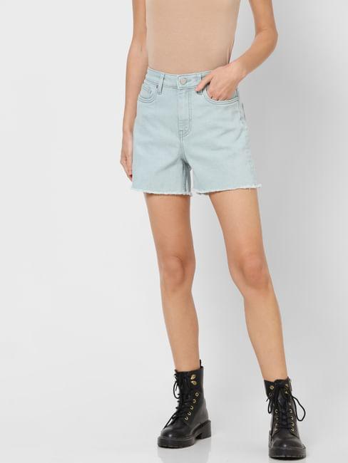 Light Blue High Rise Denim Shorts
