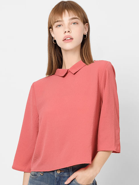 Pink Peter Pan Collar Cropped Shirt