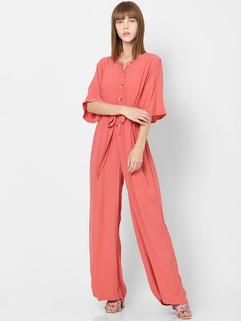 Pink Front Knot Jumpsuit