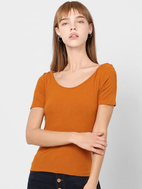 Orange Ribbed Back Tie Top