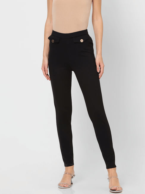 Black Mid Rise Slim Fit Leggings