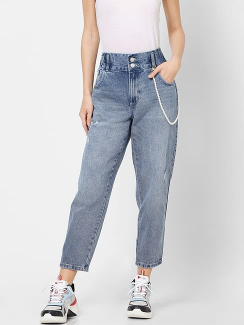 Blue High Rise Carrot Fit Distressed Jeans