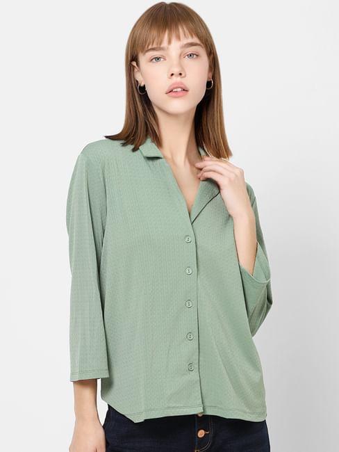 Green Resort Collar Top