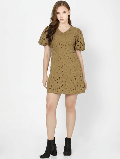Olive Cut Work Shift Dress