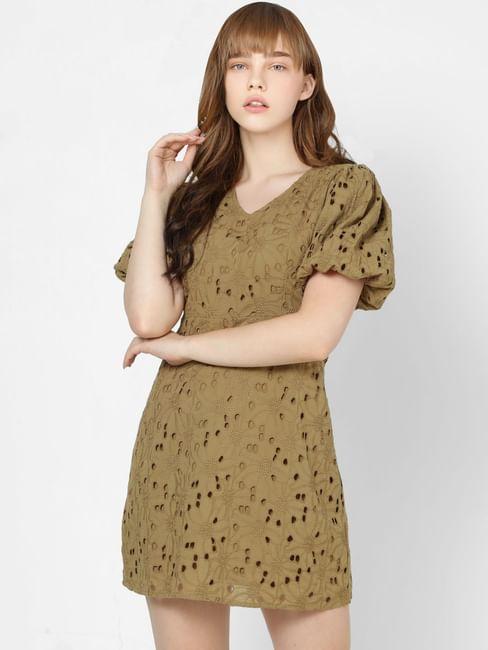 Olive Cut Work Shift Dress