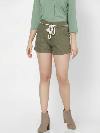 Green High Rise Drawstring Shorts