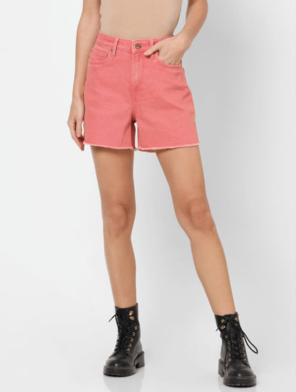 Pink High Rise Washed Denim Shorts