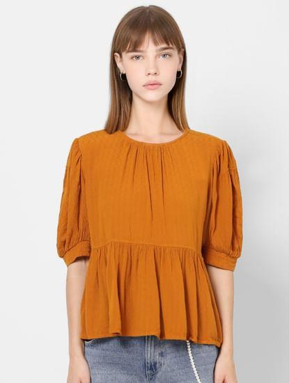 Orange Self Design Peplum Top