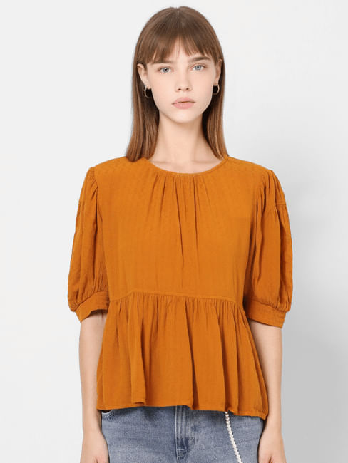 Orange Self Design Peplum Top