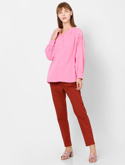 Pink Puff Sleeves Top