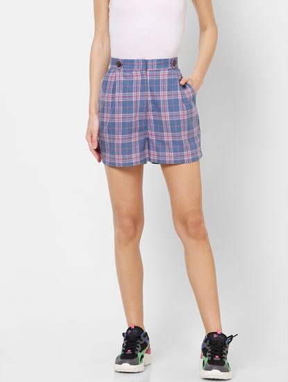 Blue High Rise Check Shorts