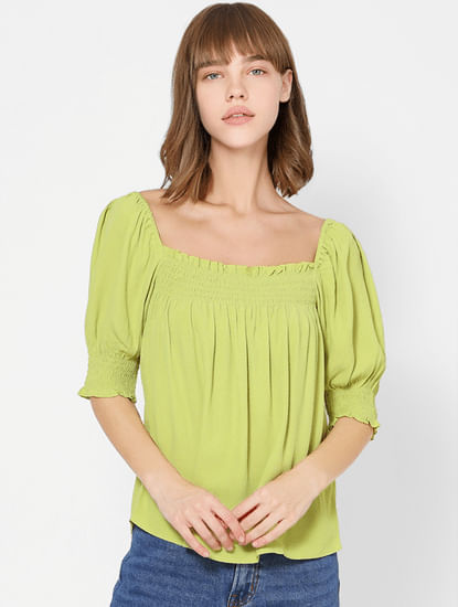 Green Smocked Top