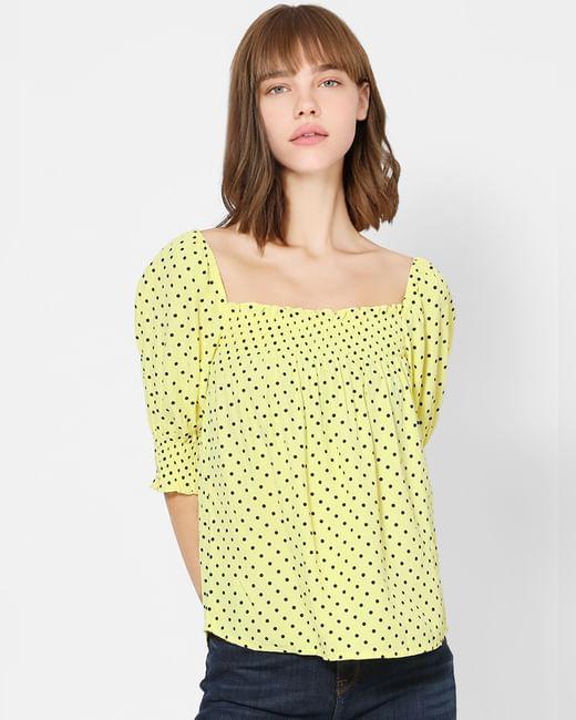 Yellow Polka Dot Smocked Top