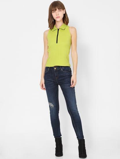 Dark Blue High Rise Skinny Fit Distressed Jeans
