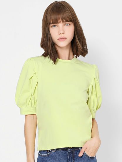 Green Balloon Sleeves Top
