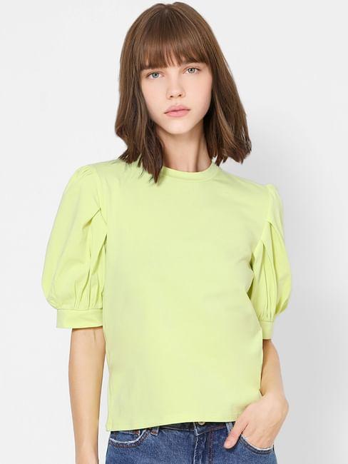 Green Balloon Sleeves Top