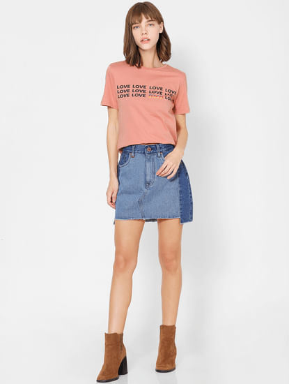 Peach Text Print T-shirt
