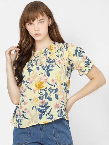 Yellow Floral Smocked Top