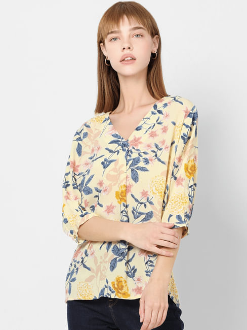 Yellow Floral V Neck Top