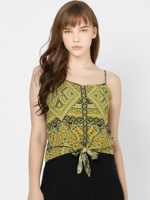 Green All Over Print Front Tie Top