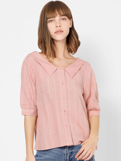 Pink Check Spread Collar Shirt
