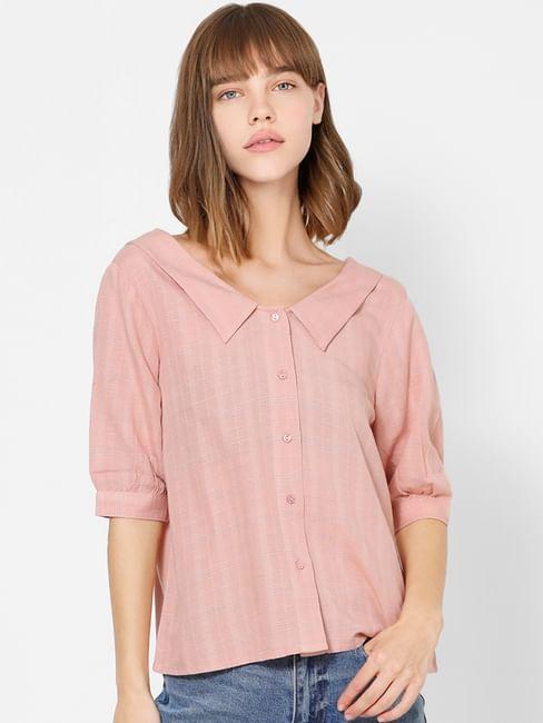 Pink Check Spread Collar Shirt