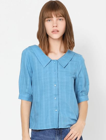 Blue Check Spread Collar Shirt