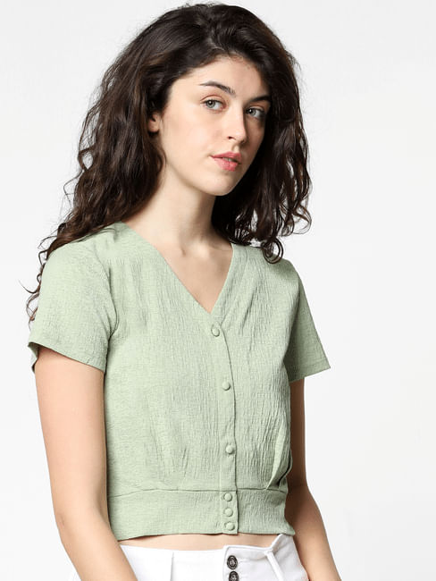 Green Cropped Top