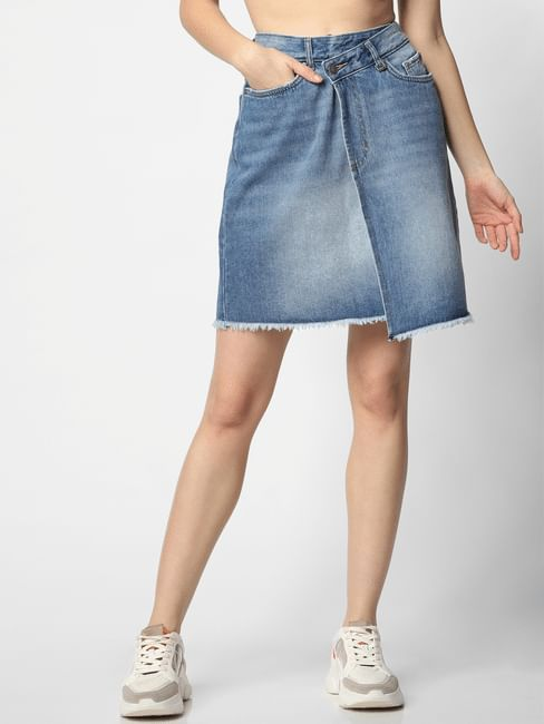 Blue Mid Rise Asymmetric Denim Skirt