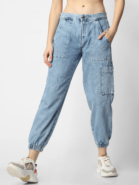 Blue Mid Rise Acid Washed Utility Jeans